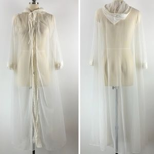 Vintage Sheer Lace Trimmed Hooded Robe